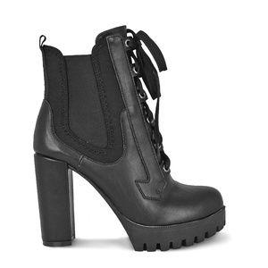 Women's Lace Up Chunky Heel Platform Black Booties